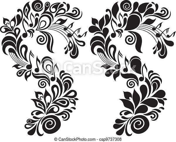 decoratief, floral, thema, muzikalisch - csp9737308
