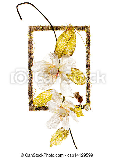decoratief, frame, bloemen, kunstmatig - csp14129599