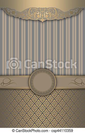 decoratief, frame., goud, motieven, elegant, achtergrond - csp44110359