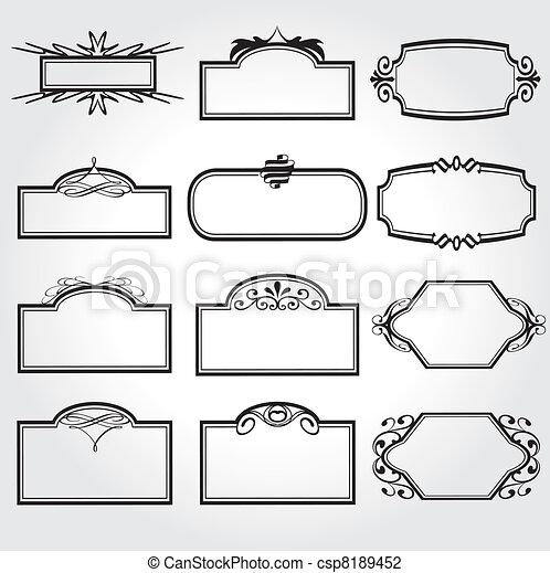 decoratief, frame, vector, set, ouderwetse  - csp8189452