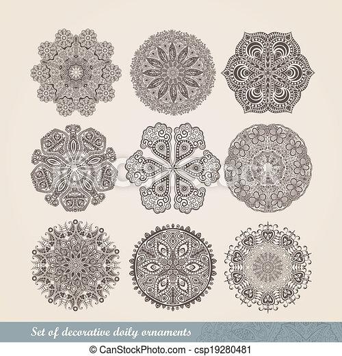 decoratief, haken, set, kant, met de hand gemaakt, blik, ornament, model, details, indiër, cirkel, ornament, caleidoscopisch, achtergrond, floral, zoals, lace., velen, mandala., vector, negen, ronde - csp19280481
