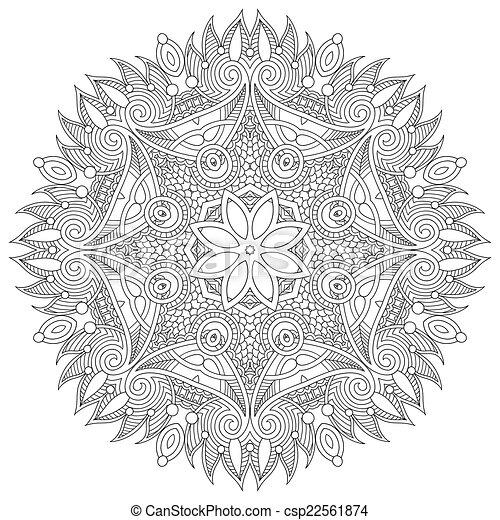 decoratief, kant, ornament, model, geometrisch, dekservet, cirkel, ronde - csp22561874
