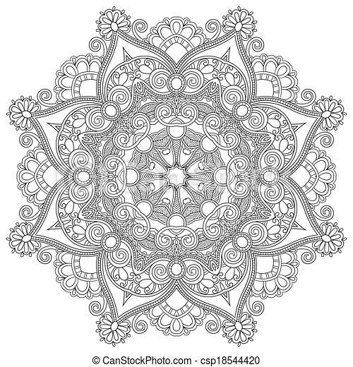 decoratief, kant, ornament, model, cirkel, black , verzameling, geometrisch, dekservet, witte , ronde - csp18544420