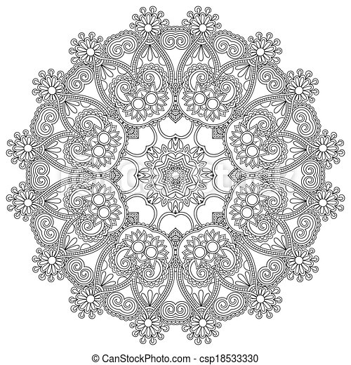 decoratief, kant, ornament, witte cirkel, black , model, dekservet, geometrisch, ronde - csp18533330