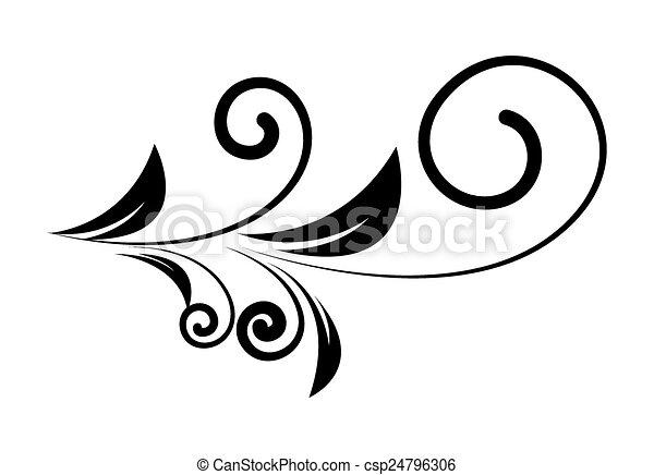 decoratief, kolken, floral, achtergrond - csp24796306