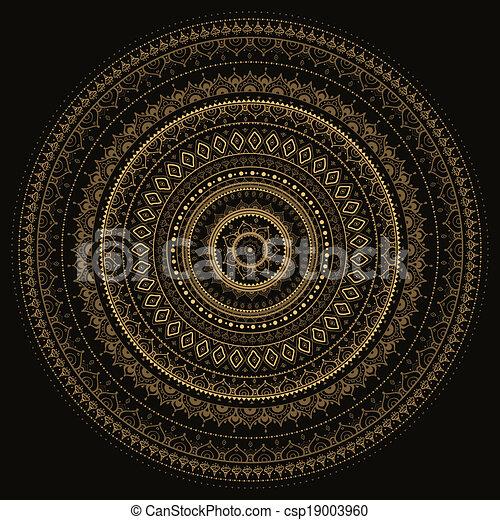 decoratief, mandala., indiër, pattern. - csp19003960