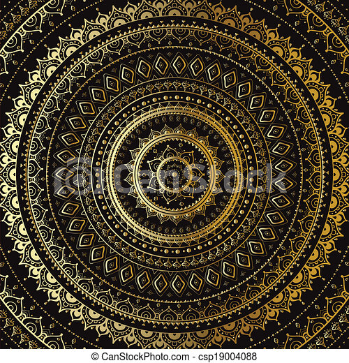 decoratief, mandala., indiër, pattern., goud - csp19004088