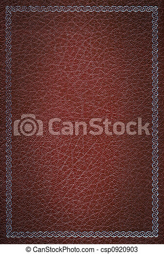 decoratief, oud, leder, frame, textuur, zilver, rood - csp0920903