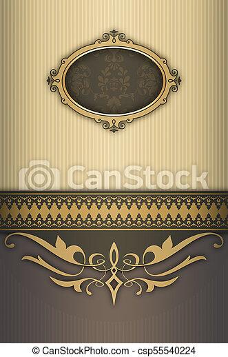 decoratief, ouderwetse , frame., achtergrond - csp55540224