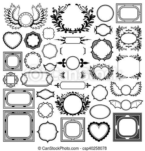 decoratief, set, ouderwetse , black , lijstjes, randjes - csp40258078
