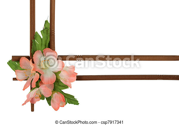 decoratief, van hout vensterraam, vrijstaand, bloemen, achtergrond, verfraaide, witte  - csp7917341