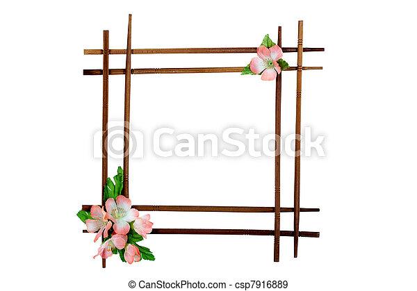 decoratief, van hout vensterraam, vrijstaand, bloemen, achtergrond, witte  - csp7916889