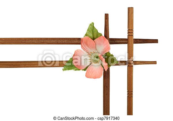 decoratief, van hout vensterraam, vrijstaand, bloemen, achtergrond, verfraaide, witte  - csp7917340