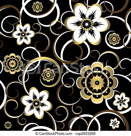 decoratief, (vector), model, seamless, black , floral - csp2653268