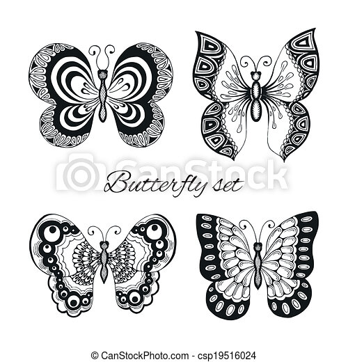 decoratief, vlinder, set, iconen - csp19516024
