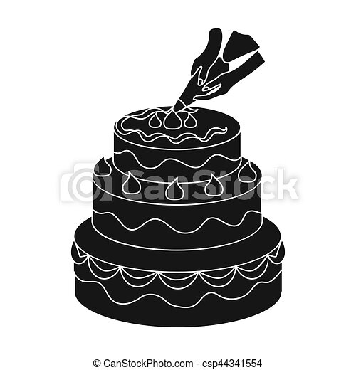 Decorating Of Birthday Cake Icon In Black Style Isolated On Stock