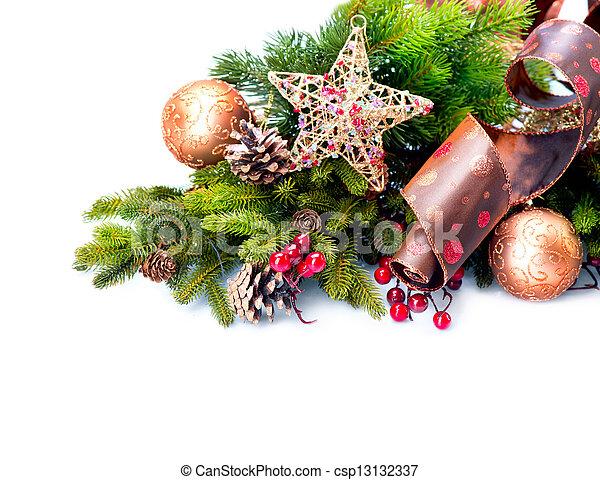 decoration., aislado, decoraciones, blanco, feriado, navidad - csp13132337