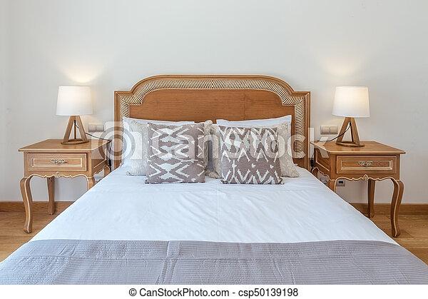 decoration., bois, moderne, lit, mariés, chambre à coucher