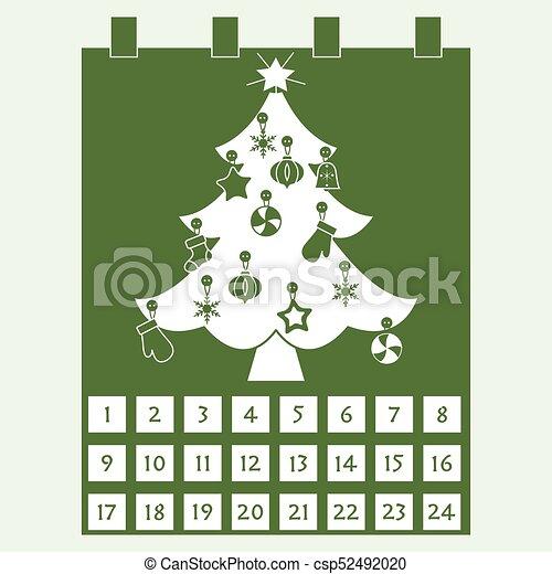decorations:, calendar:, mittens., árbol, copos de nieve, advenimiento, calcetín, estrellas, navidad - csp52492020