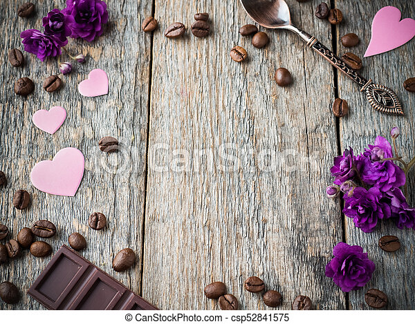 Decorations For Valentines Day Paper Hearts Violets And Chocolate