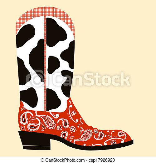La decoración de botas de vaquero. El símbolo del oeste - csp17926920