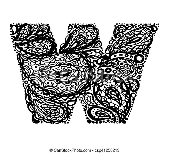 Letter W Decorative Alphabet With A Paisley Zen Doodle Tattoo Ornaments Filling Display Font And Numbers Hand Drawn Letters In Vintage Style Used For