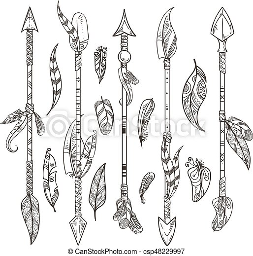 decorative arrows and feathers set in boho style native indian