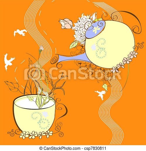Decorative background with cup and teapot - csp7830811