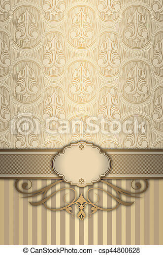 Decorative Background With Gold Elegant Border And Patterns