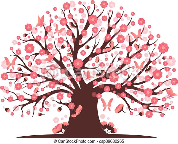 decorative beautiful cherry blossom tree clip art vector search rh canstockphoto com cherry blossom clip art borders cherry blossom clipart free