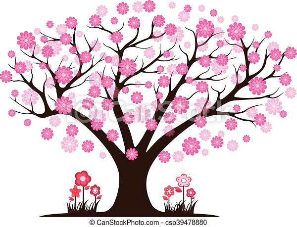 decorative beautiful cherry blossom tree vector search clip art rh canstockphoto com cherry blossom clipart black and white cherry blossom clipart free