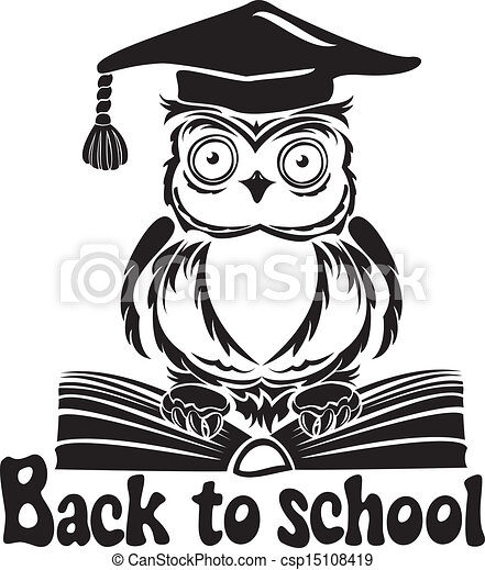 Decorative bird - owl with graduation cap and book, isolated on white background. Back to school emblem - csp15108419