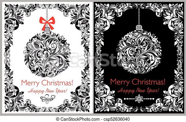 decorative black and white greeting christmas card with hanging floral ball and border variation