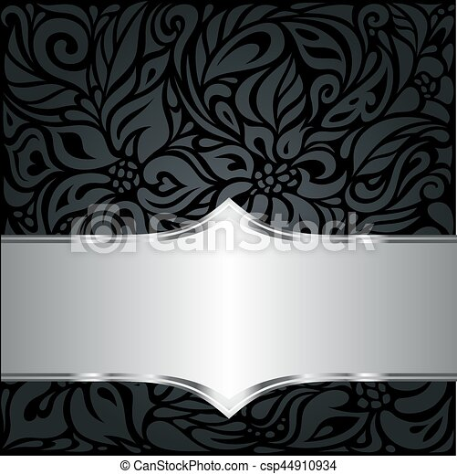 Decorative Black Silver Floral Luxury Wallpaper Background