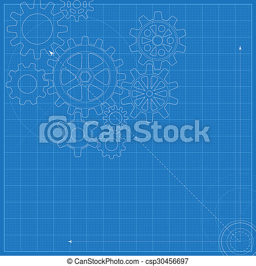 Decorative blueprint with schematic gears on graph paper stock decorative blueprint with schematic gears on graph paper csp30456697 malvernweather Choice Image