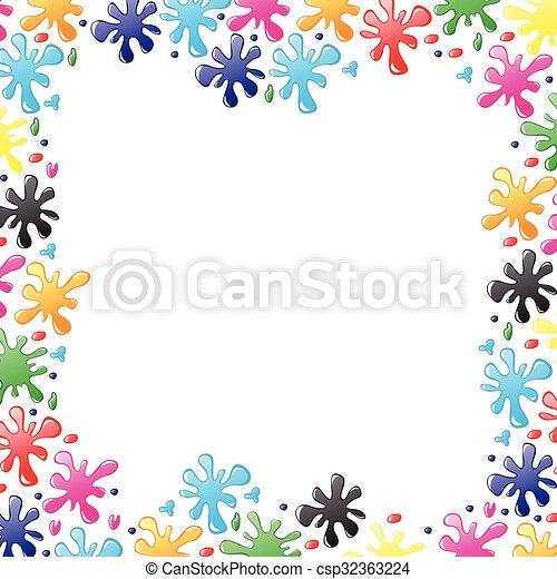 Decorative border of paints drops and blots - csp32363224