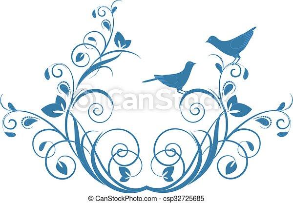 Decorative branch with birds. - csp32725685