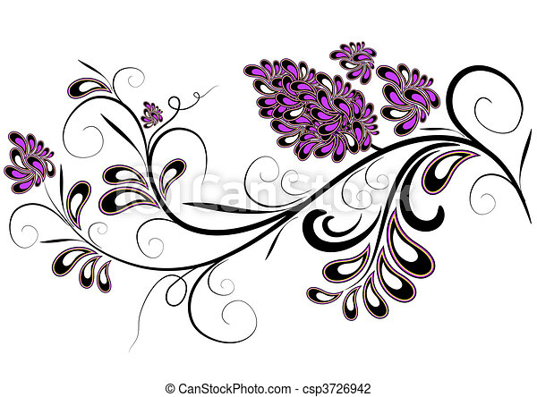 Decorative branch with lilac flower - csp3726942