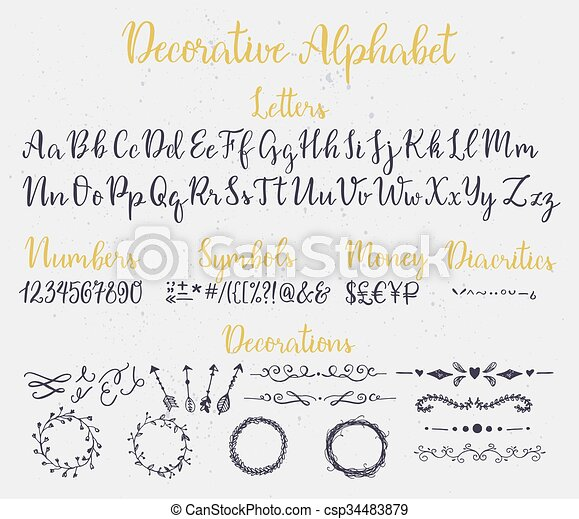 Decorative brush lettering alphabet Modern calligraphy decorative