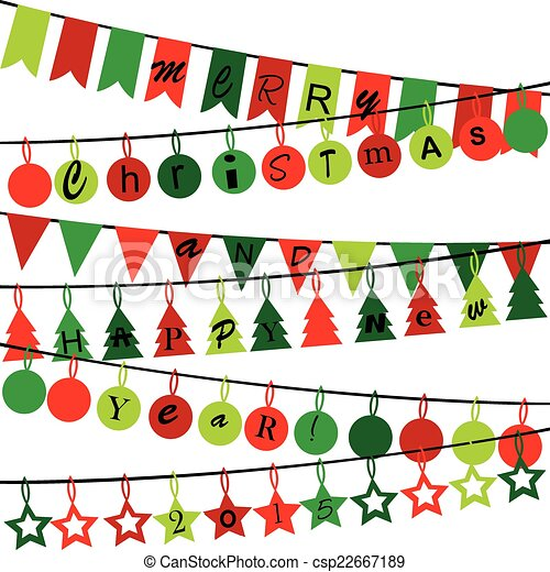 Decorative bunting with Merry Christmas and Happy New Year 2015 - csp22667189