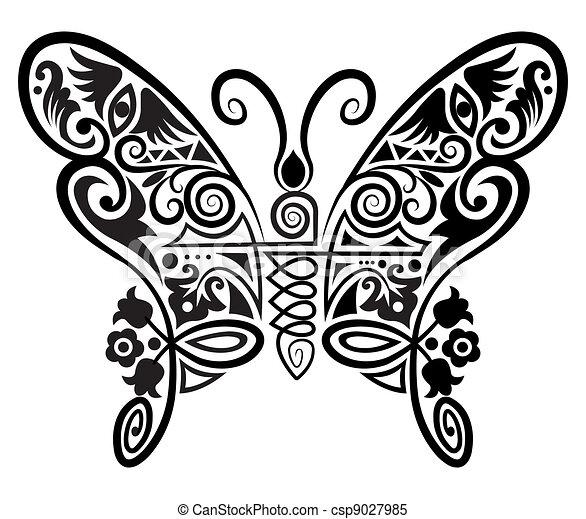 Decorative Butterfly Decorative Butterfly With Flowers Leaves