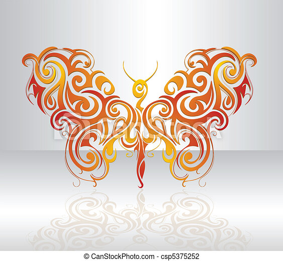 Decorative Butterfly Artistic Shape Created In Tribal Art Vector