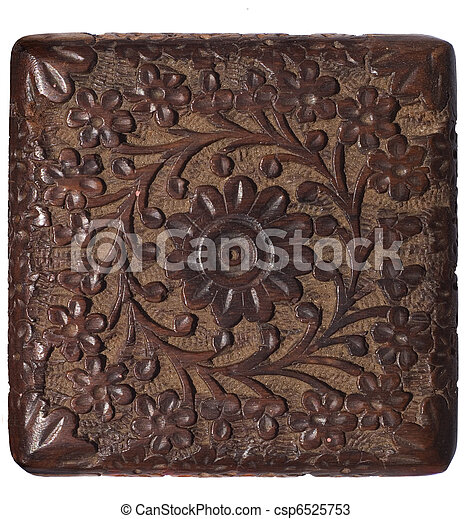 Decorative carved wood panel isolated  - csp6525753