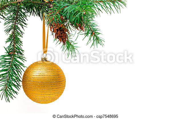 Decorative Christmas ball hangs on the Christmas tree. - csp7548695