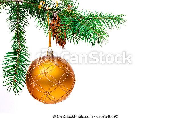 Decorative Christmas ball hangs on the Christmas tree. - csp7548692