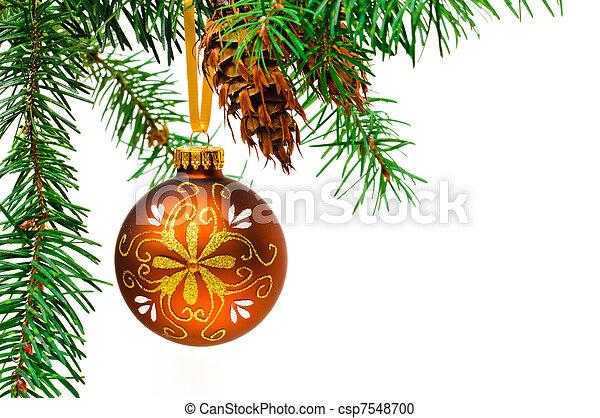 Decorative Christmas ball hangs on the Christmas tree. - csp7548700