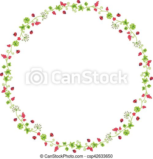 Decorative circle frame with branches and ladybirds - csp42633650