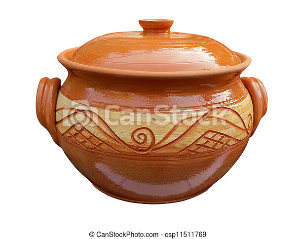Decorative clay vessel with pattern isolated over white - csp11511769