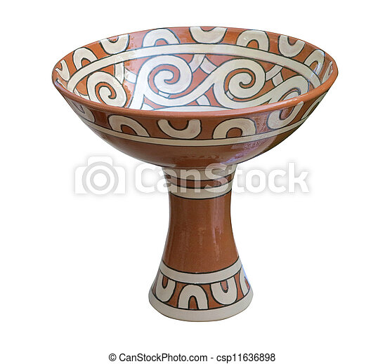 Decorative clay vessel with pattern isolated over white - csp11636898