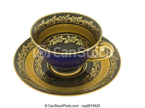 DECORATIVE COBALT BLUE CUP AND SAUCER - csp2618423